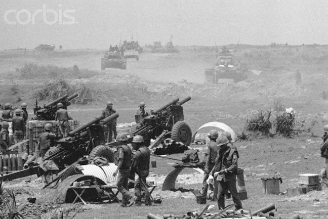 Troops and Tanks in Action at Vietnam