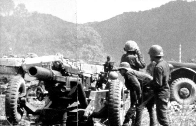 Mot phao doi cua TD3PBND tai can cu hoa luc trong cuoc hanh quan ha lao nam 1971.
